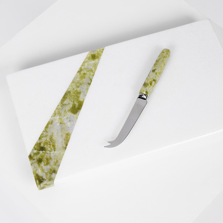 Irish green connemara marble cheese board and knife